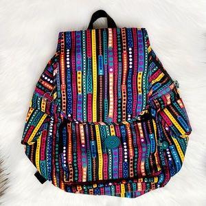 KIPLING stripe & circles rainbow multi backpack